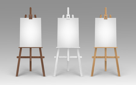 Vector Set of Wooden Brown White Sienna Easels with Mock Up Empty Blank Vertical Canvases Isolated