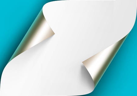 Vector Curled Metalic Platinum Corners of White paper with shadow Mock up Close up Isolated on Blue Background