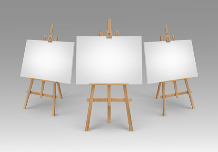 Vector Set of Brown Sienna Wooden Easels with Mock Up Empty Blank Canvases Isolated on Background
