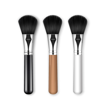 Vector Set of Black Clean Professional Makeup Powder Brush with Blackn White Wooden Handle Isolated on White Background