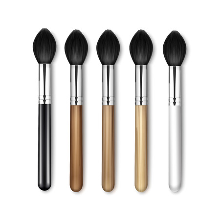 Vector Set of Black Clean Professional Makeup Blush Brush with Black White Wooden Handle Isolated on White Background
