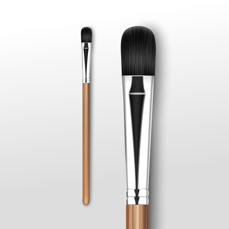 Vector Black Clean Professional Makeup Concealer Eye Shadow Brush with Wooden Handle Isolated on White Background Illustration