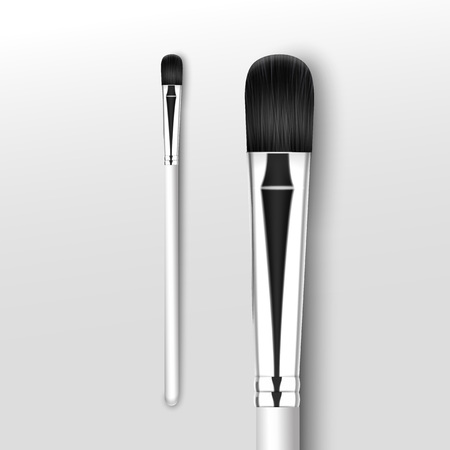 Vector Black Clean Professional Makeup Concealer Eye Shadow Brush with White Handle Isolated on White Background