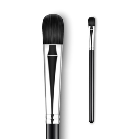 Vector Black Clean Professional Makeup Concealer Eye Shadow Brush with Black Handle Isolated on White Background Illusztráció