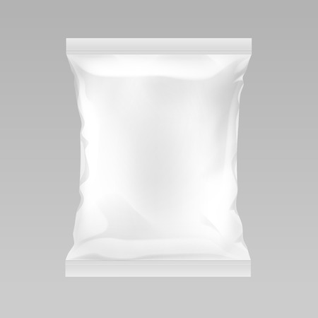 Vector White Vertical Sealed Empty Plastic Foil Bag for Package Design with Smooth Edges Close up Isolated on Background