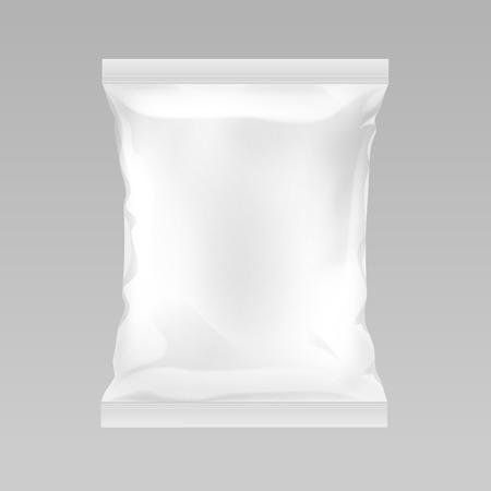 Wektor biały pionowy szczelny pusty plastikowy worek foliowy na projekt opakowania z gładkimi krawędziami z bliska na białym tle na tle
