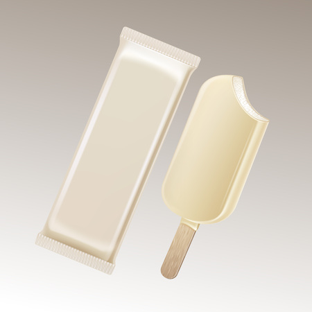 Vector Classic Bitten Popsicle Choc-ice Lollipop Ice Cream in White Chocolate Glaze on Stick with White Plastic Foil Wrapper for Branding Package Design Close up Isolated on Background