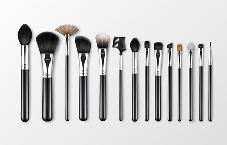 Vector Set of Black Clean Professional Makeup Concealer Powder Blush Eye Shadow Brow Brushes with Black Handles Isolated White Background