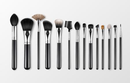 Vector Set of Black Clean Professional Makeup Concealer Powder Blush Eye Shadow Brow Brushes avec poignées noires isolées sur fond blanc