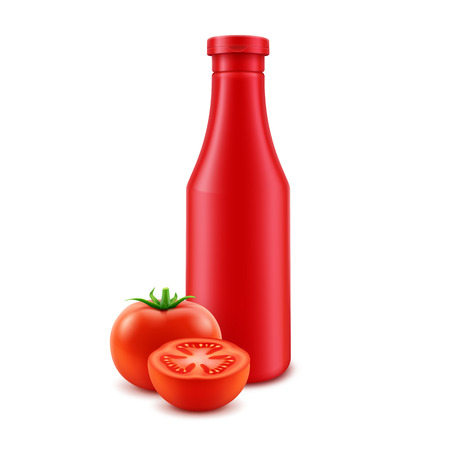 Vector Blank Plastic Red Tomato Ketchup Bottle for Branding without label Isolated with Fresh Tomatoes White Background