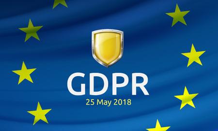 Vector illustration of General Data Protection Regulation or GDPR label and shield on waving EU flag