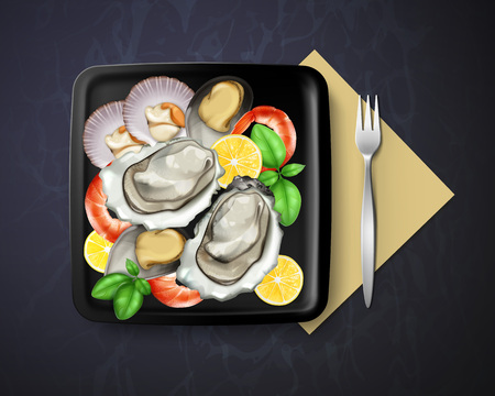 Vector of dish with oysters, mussels and prawns served lemon and basil in square black plate with fork, top view