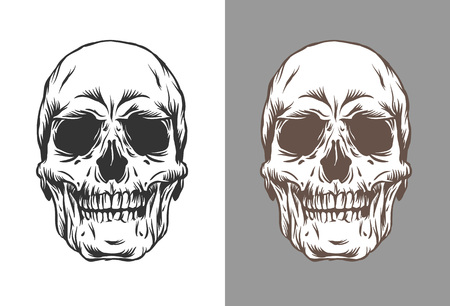 Vector illustration of human skulls in engraving style black and brown color on background