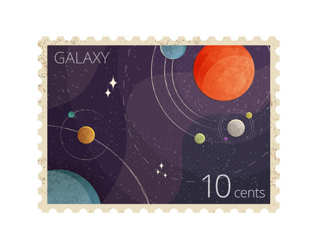 Vector illustration of vintage space postage stamp with planets shows Heliocentric system isolated on background