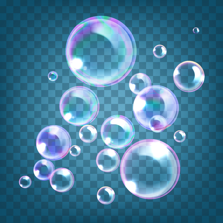 Vector illustration of realistic soap bubbles with rainbow reflection isolated on transparent background