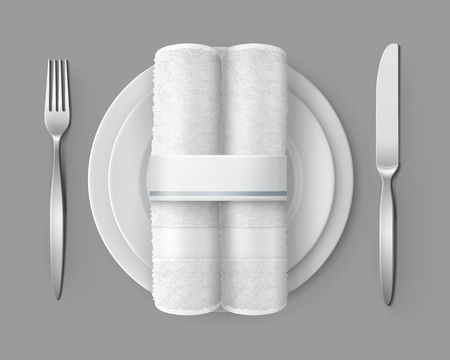 Vector illustration of two white cloth napkins on white porcelain plate and fork and knife isolated on background Reklamní fotografie