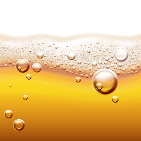 Vector illustration of fresh light beer with gas bubbles. Amber liquid background with wave and foam