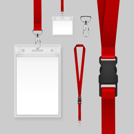 Vector illustration of professional identification card. Template id badges holders with red lanyards and strap clips isolated on gray background
