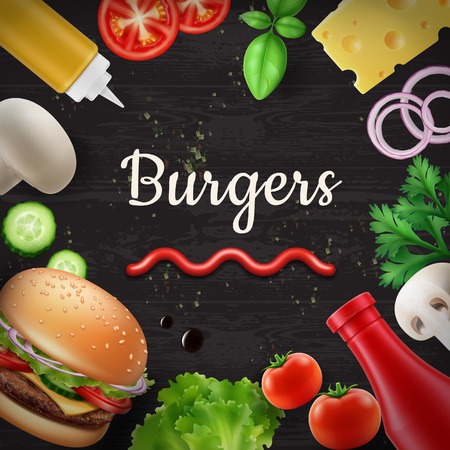 Vector illustration of culinary background with fresh ingredients: cheese, tomato, mustard, mushroom, cucumber, onion, lettuce, basil for burgers on black wooden table. Top view with copy space