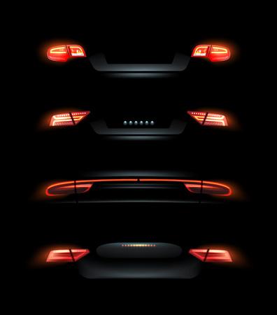 Vector illustration of car lights, red back headlights set on black background Vettoriali