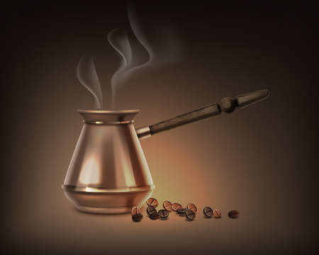 Vector illustration of turkish coffee pot with wooden handle, with aromatic steam on brown background