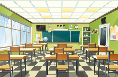 Vector illustration of an empty school classroom interior with a chalkboard on the green wall and desks on checkered floor