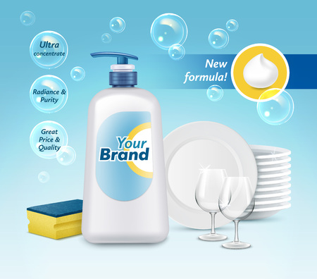 Vector illustration of dishwashing liquid soap in plastic packaging with label design. Brand name advertising poster Vettoriali