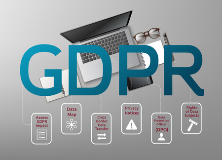 Vector illustration of laptop top view and General Data Protection Regulation or GDPR with icons. Concept of privacy laws for users Vettoriali
