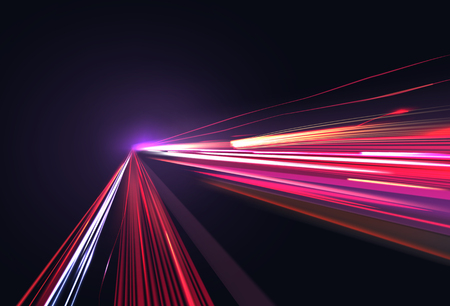 Vector image of colorful light trails with motion blur effect, long time exposure. Isolated on background Vettoriali