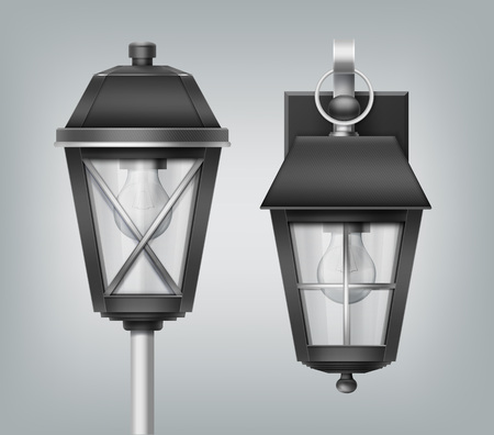 Vector illustration of close up vintage lantern on pole and wall, modern electrical lamps, outdoor street lights in old style on gray background