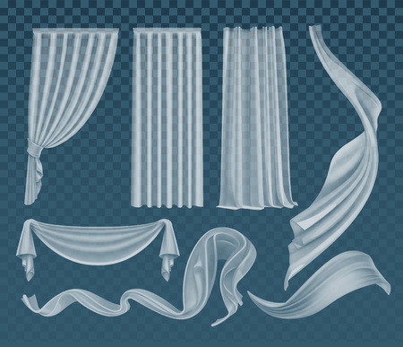 Set vettoriale di panni bianchi traslucidi svolazzanti realistici, materiale trasparente morbido e leggero e tende isolate su sfondo verde acqua trasparente