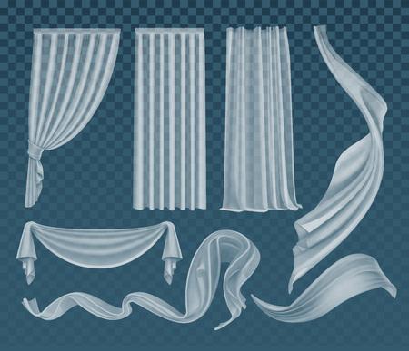 Wektor zestaw realistycznych trzepoczących półprzezroczystych białych tkanin, miękkiego lekkiego, przezroczystego materiału i zasłon izolowanych na przezroczystym turkusowym tle