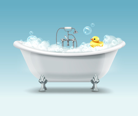 Vector white bathtub in vintage style with foam and yellow duck on gradient blue background Illustration