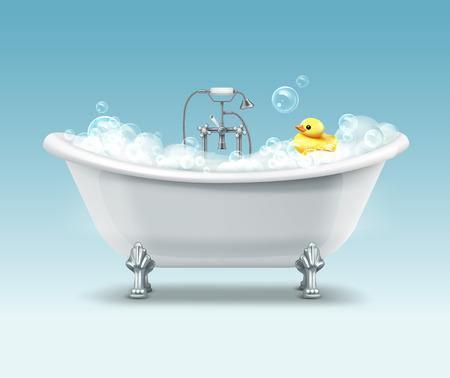 Vasca da bagno bianca vettoriale in stile vintage con schiuma e anatra gialla su sfondo blu sfumato Vettoriali