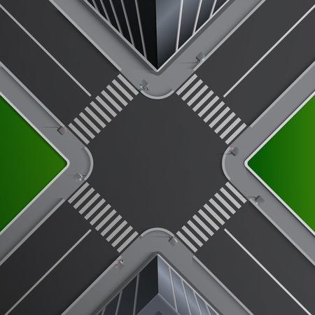 Vector illustration of city street concept with markings of pedestrian crossings, buildings and lown, crossroad without cars, top view
