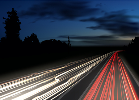 Vector image of colorful light trails with motion blur effect, long time exposure. Isolated on background Çizim