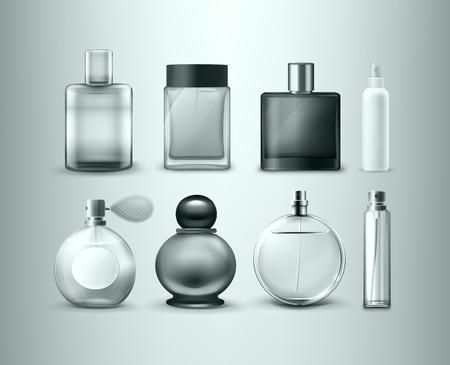 Set vettoriale di diverse bottiglie di profumo isolate su sfondo grigio