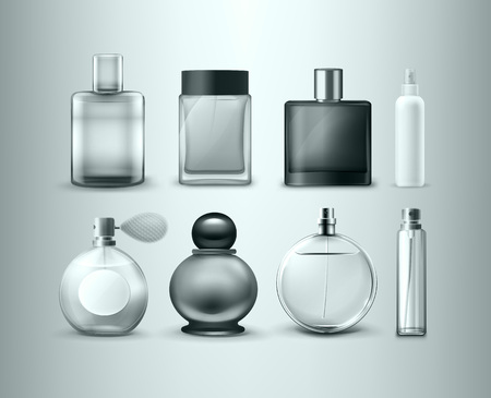 Vector set of different perfume bottles isolated on gray background
