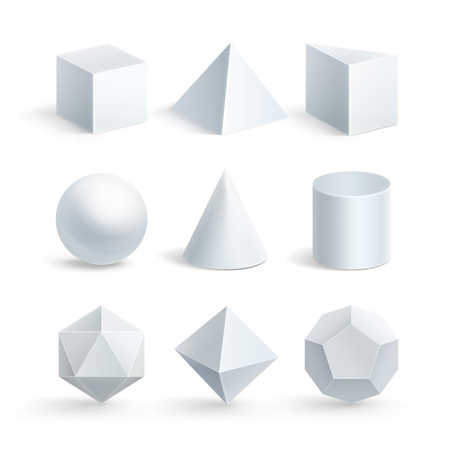 Vector illustration of realistic geometric shapes: cube, prism, cylinder, cone, sphere, pyramid or tetrahedron and octahedron, icosahedron, dodecahedron on white background
