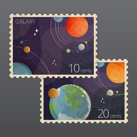 Vector illustration of two vintage space postage stamps with planets isolated on gray background Çizim