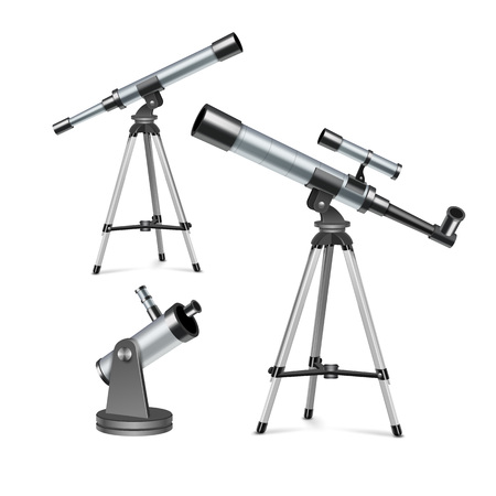 Vector set silver optical telescopes on stand and tripod, illustration of astronomical instruments isolated on white background
