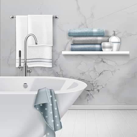 Vector illustration of light interior of bathroom with hanging and folding towels and soap on shelf on white marble wall background