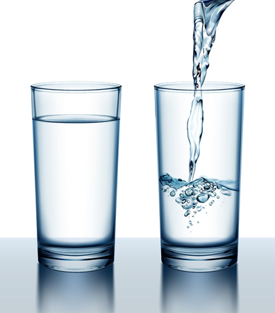 Vector illustration of two glasses of full and pouring fresh water on white background