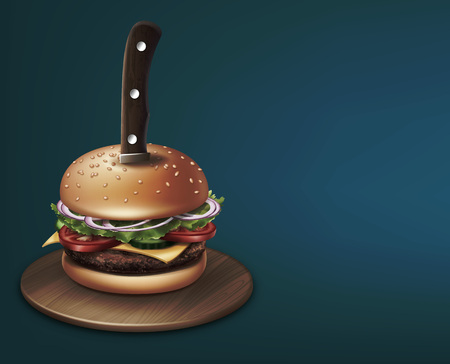 Cheeseburger stabbed with a knife on round wooden plate. Vector illustration on blue background with space for text