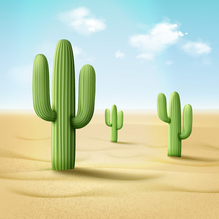 Vector illustration of cordon cactus or pachycereus pringlei in desert landscape on background