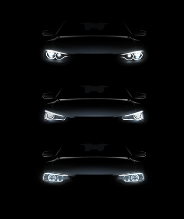 Vector illustration of car lights realistic set stylish automobile silhouette with white headlights on black background Illustration