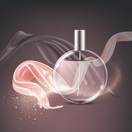 Vector advertising illustration of cosmetic, ads translucent perfume bottle with glittering wave and dynamic satin elements in pink and bronze color on bokeh background