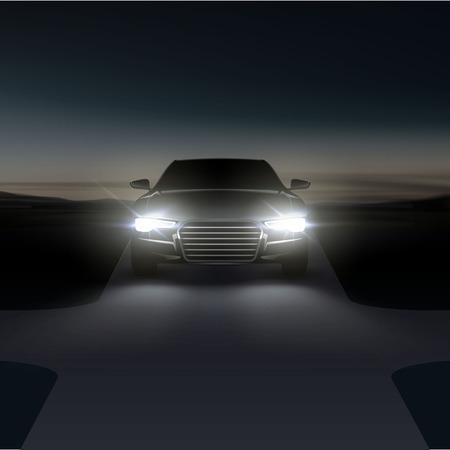Ilustracja wektorowa reflektorów samochodowych na asfaltowej wiejskiej drodze ze skrzyżowaniem w nocy przed świtem na przedmieściach