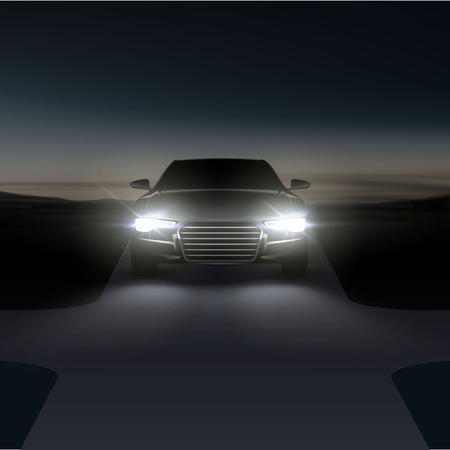 Vektor-Illustration von Autoscheinwerfern auf asphaltierter Landstraße mit Kreuzung in der Nacht vor der Morgendämmerung in einem Vorort
