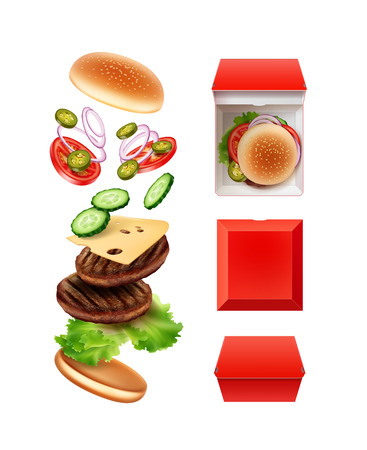 Vector illustration of flying large double cheeseburger in exploded view with red paper box in top and front side view, isolated on white background